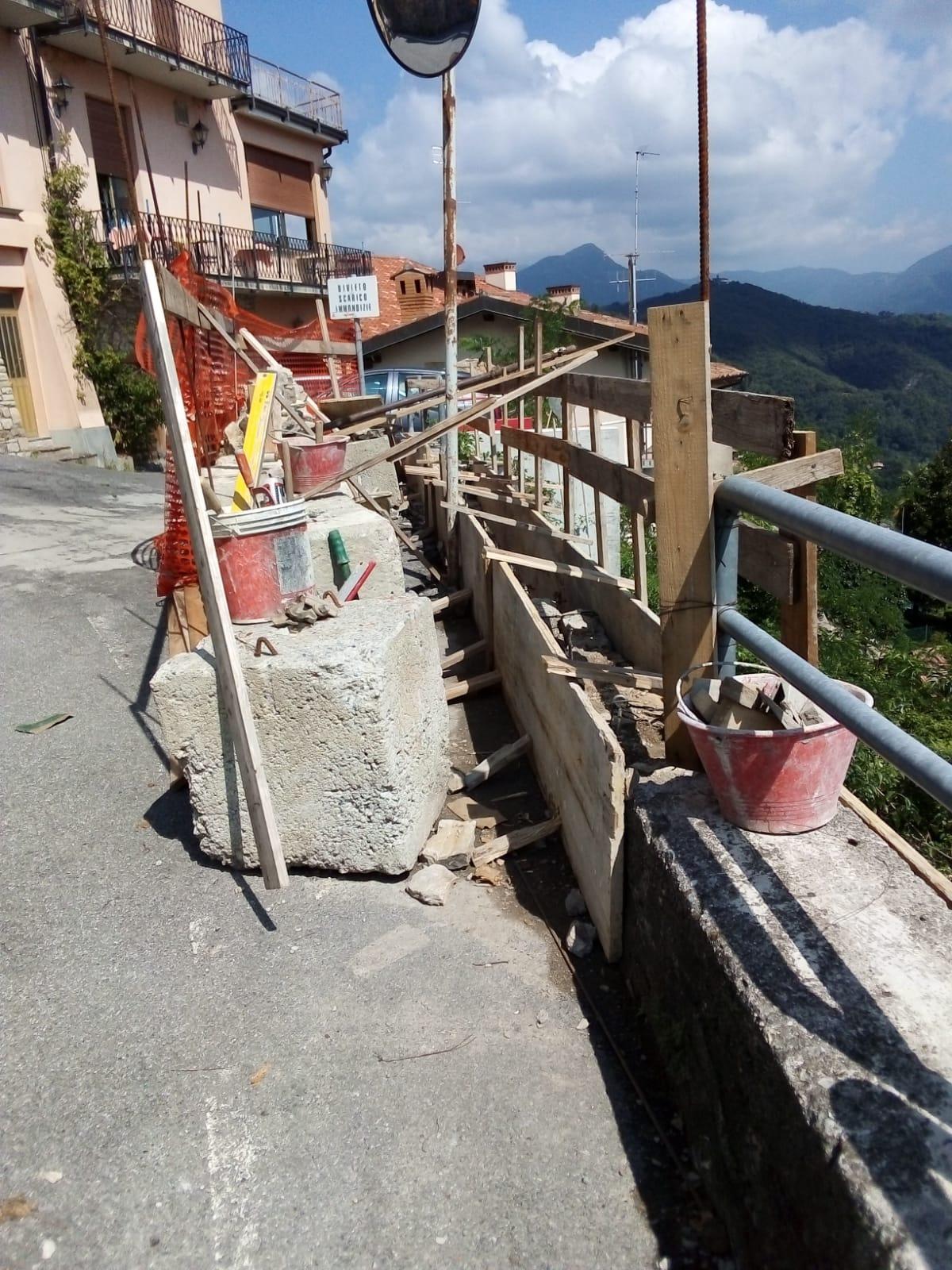 Ripristino arredo urbano post incidente Gandosso (Bergamo) - lavori