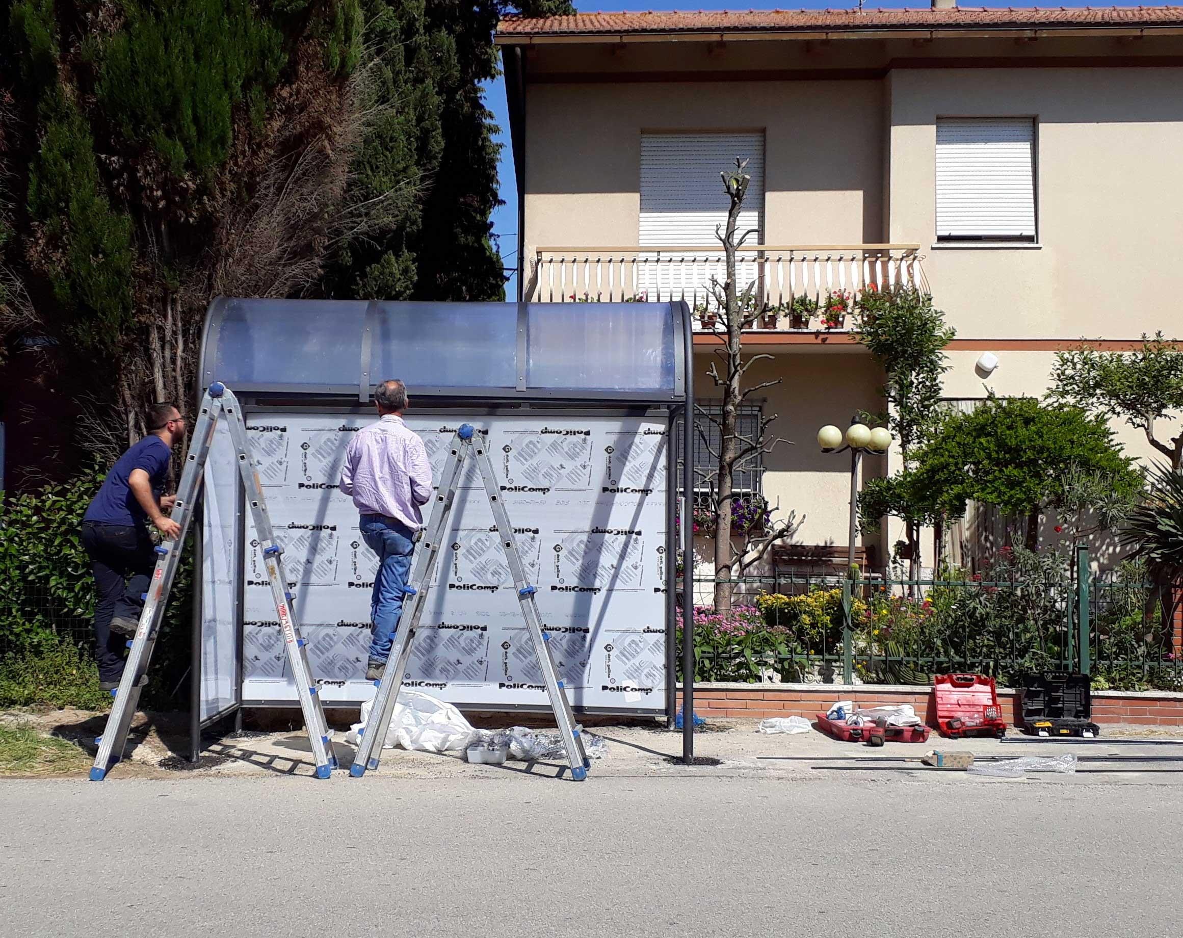 Ripristino arredo urbano post incidente Montelupone (Macerata)